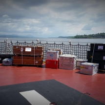 unloading of scientific equipment on deck