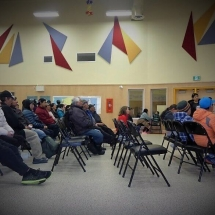 Joannie is presenting the GreenEdge mission in Qikiqtarjuaq.