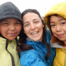 Joannie with children from the community